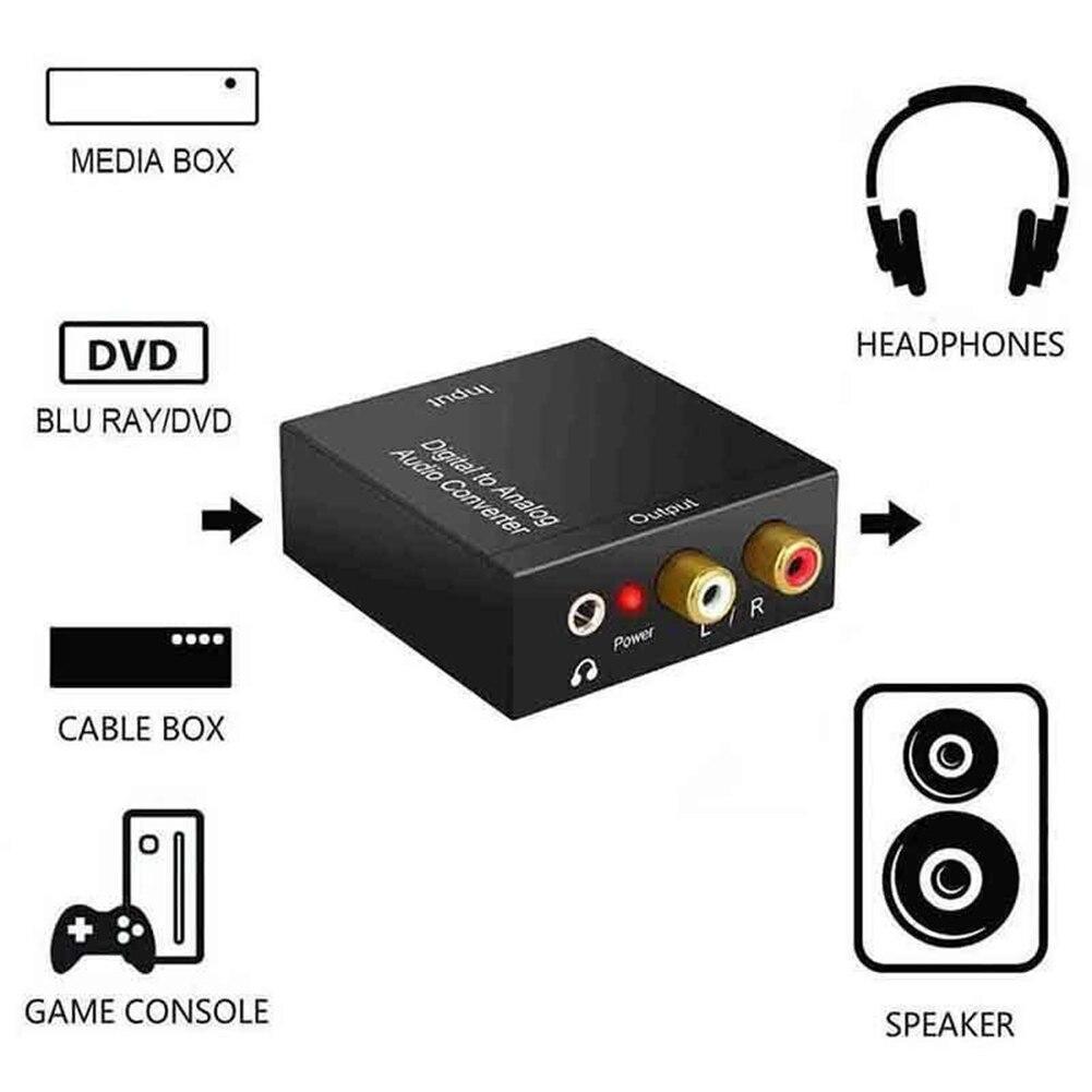 Digital Fiber Turn Analog Audio Converter Optical Coax Toslink Digital To Analog Converter RCA L/R Stereo Audio Adapter