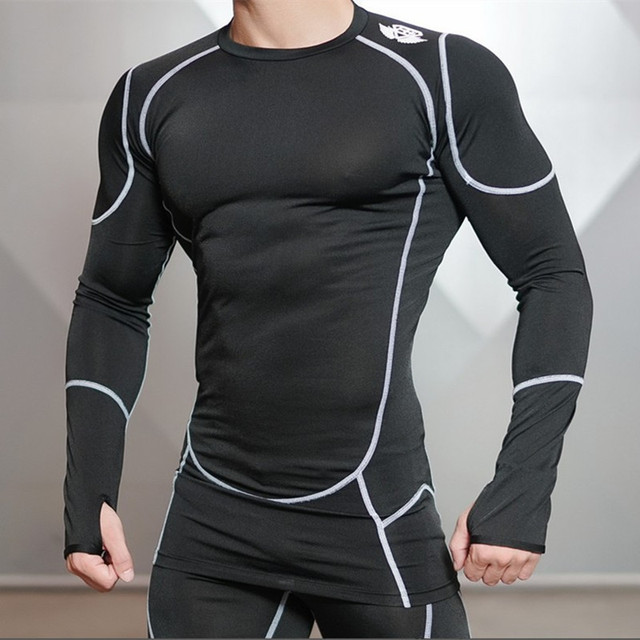 2016 New Fitness Compression Shirt Men Bodybuilding Long Sleeve T Shirt  Tops & Tees