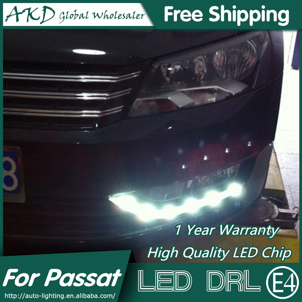 AKD Car Styling for VW Passat DRL 2012-2014 Passat US Version LED DRL Daytime Running Light Fog Light Signal Parking Accessories akd car styling for kia sportage r drl 2014 new sportager led drl korea design led running light fog light parking accessories