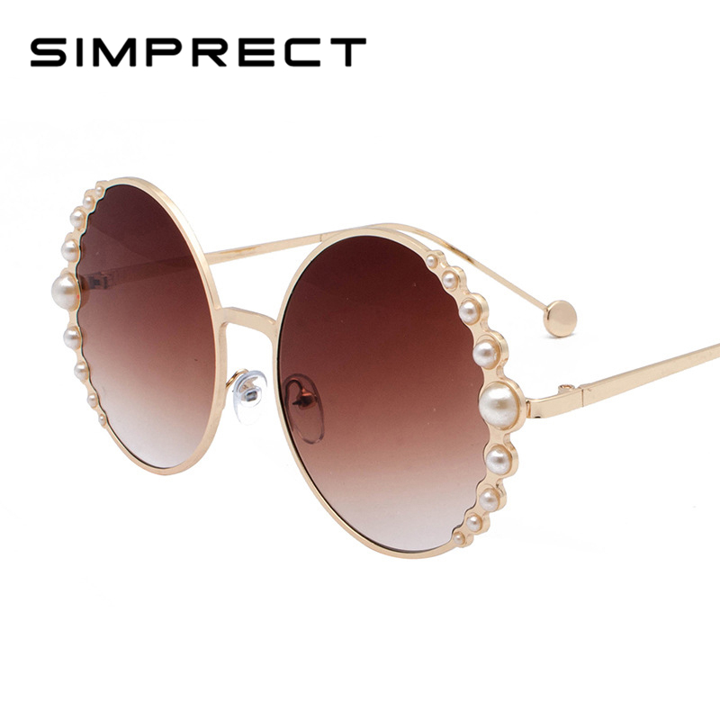 100% QualitäT Simprect 2019 Runde Sonnenbrille Frauen Gradienten Objektiv Große Perle Sonnenbrille Mode Retro Hohe Qualität Metall Oculos De Sol Feminino Fest In Der Struktur