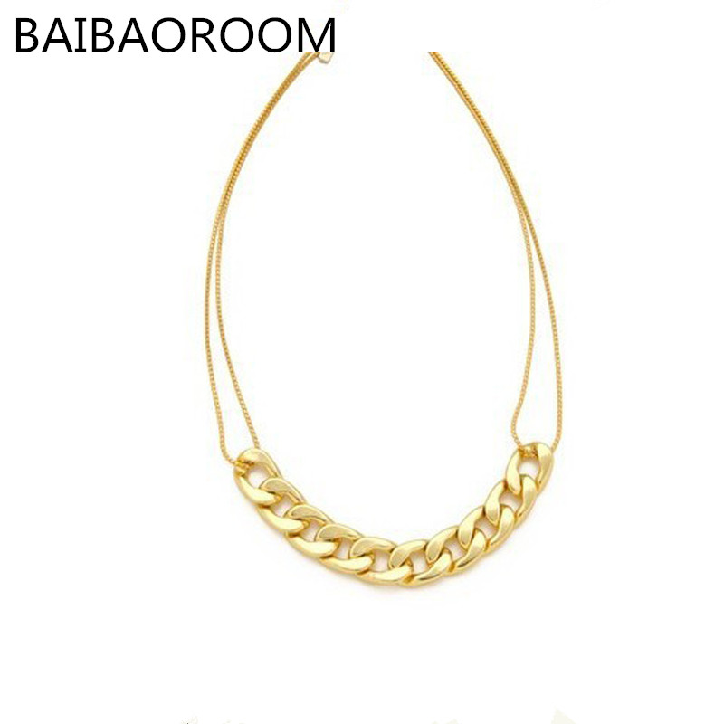 New Fashion Vintage Chunky Chain Zinc Alloy Punk Statement Necklace For Women Chain Necklaces Jewelry Female Wholesale 0232