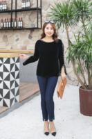 MINSUNDA Plus Size Pearl Beading T Shirt Elegant Women Long Sleeve Slit Cuff Autumn Casual Velet