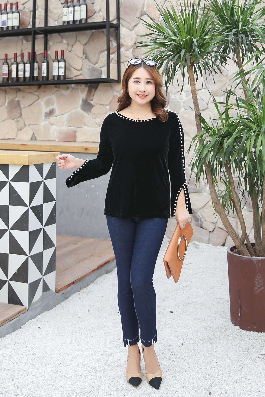 MINSUNDA Plus Size Pearl Beading T Shirt Elegant Women Long Sleeve Slit Cuff Autumn Casual Velet
