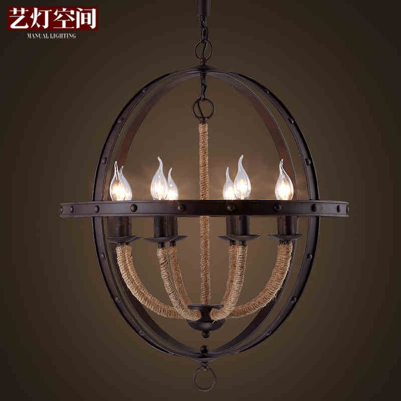 Loft Style American Country Personality Hemp Rope Dining Room Pendant Light Restaurant Light Balcony Light Free Shipping