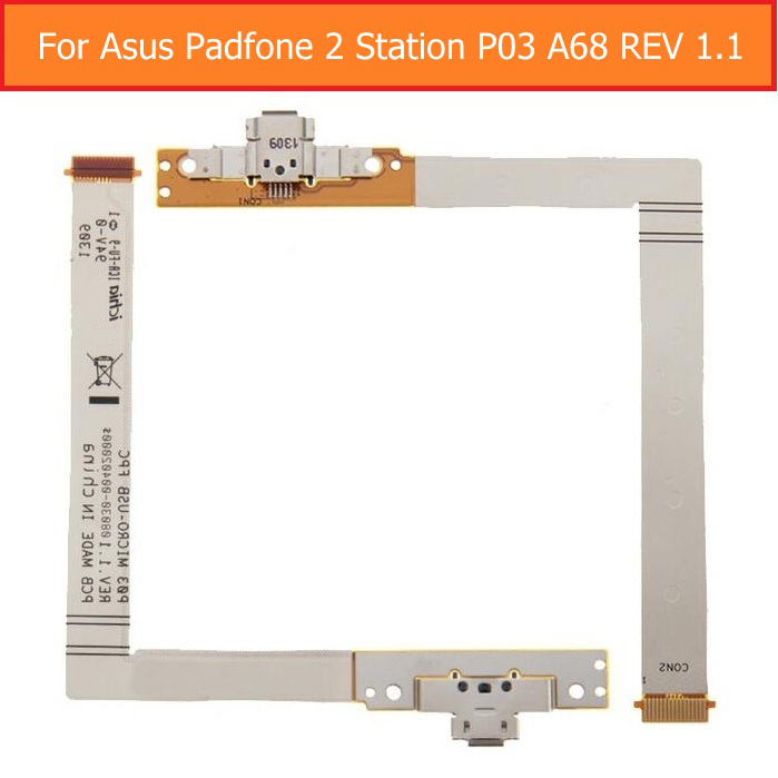 100% Genuine USB Charging Connector Flex Cable For Asus Padfone 2 Station P03 A68 REV 1.1 USB Date Charger Dock Port Flex Cable 100% new usb charging charger port dock connector flex cable replacement for lenovo a859