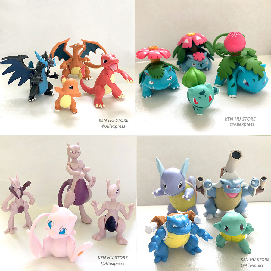 Evolution group Mewtwo Charizard Venus Blastoise anime action toy figures Collection model toy Car decoration toy pokemones