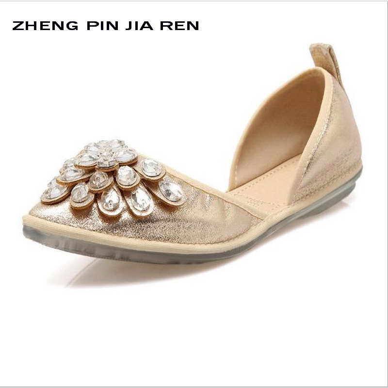 37d9927e367a4 ZHENG PIN JIAREN New Rhinestone Tip Flat shoes Hollow Comfort Wear feet  Shallow mouth Ballet Roller shoes size 34 42-in Women's Flats from Shoes on  ...