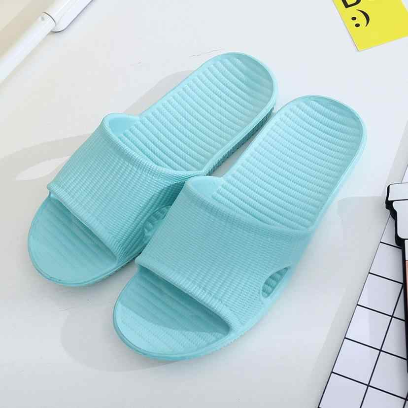 Vrouwen Streep Platte Bad Slippers Zomer Sandalen Indoor & Outdoor Slippers # A40