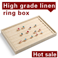 Free shipping High-grade Linen 12 grid plate Ring finger display tray hand plate jewelry box jewelry display shelf