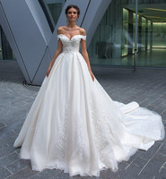 Fabulous Wedding Dresses with Lace Appliques Off Shoulder Backless Chapel Train Any Size and Any Color Vestidos De Novia Longo