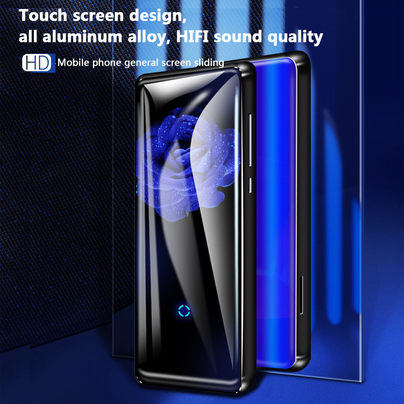 HD 1.8 pouces portable Bluetooth 4.2 incurvé écran MP4 lecteur intelligent écran tactile en métal avec support audio 128 GB carte SD