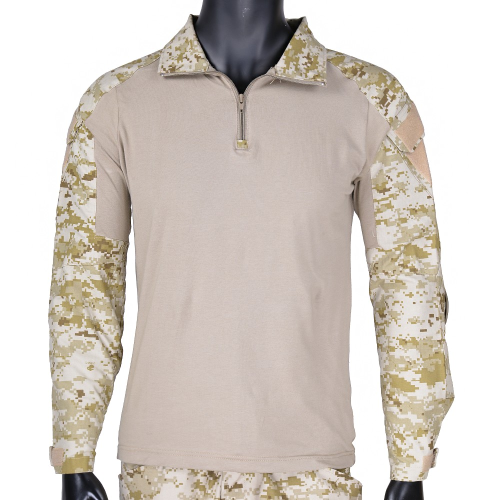 CQC Tactical Shirt Gen2 Men Long Sleeve Military Hunting Paintball Airsoft Army BDU Combat Shirt With Elbow Pads Digi-Desert
