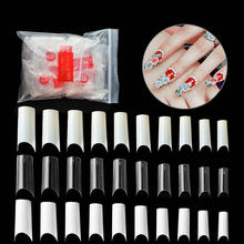 500 шт прозрачный дизайн ногтей белый половина крышка акриловая