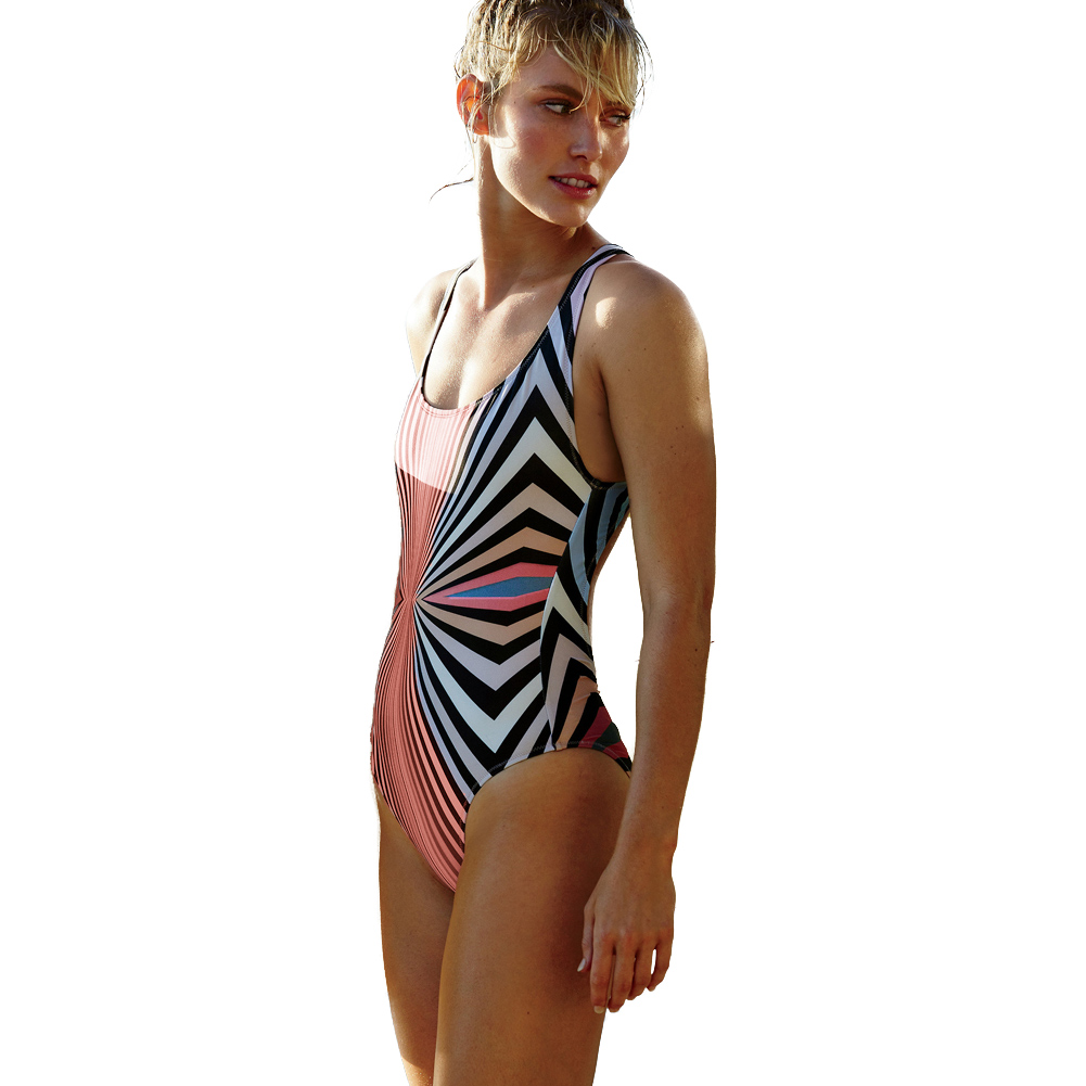 5a0ff384065 Women Colorful Striped Print One Piece Swimsuit Padded Push Up Backless  Crossover Sexy Retro Swimwear Black-in Body Suits from Sports &  Entertainment on ...