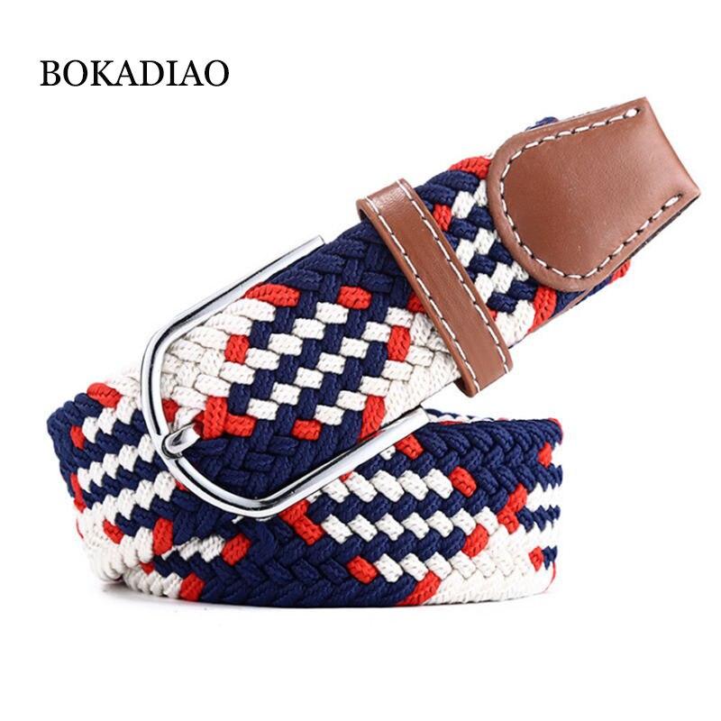 BOKADIAO men&women elastic   belt   Pin buckle Weave Stretch Canvas   belt   105cm luxury jeans   belts   for men waistband white strap male