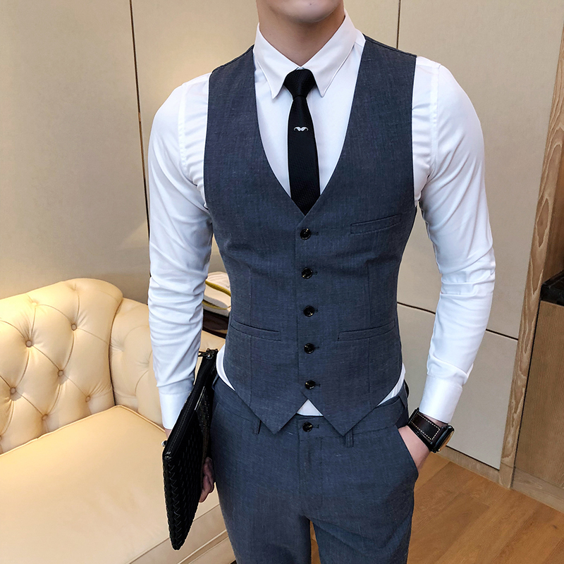 2018 New Pure Color Men's Suit Vests Fashion Casual  Waistcoat Men Wine Red Dark Gray Khaki Light Gray Card Green  Size S-4XL
