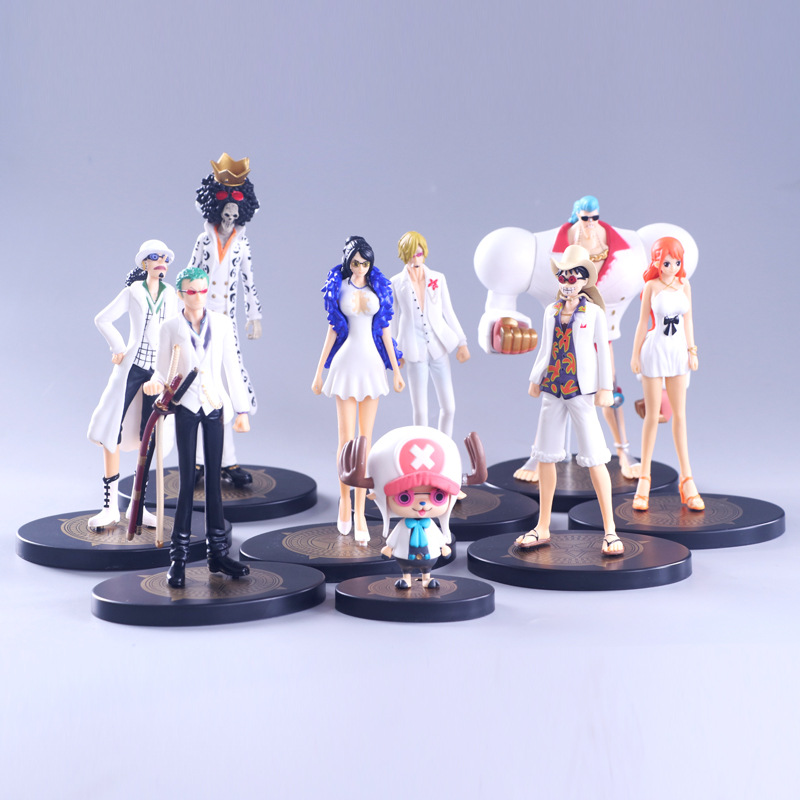 New anime one piece pvc action figure white Luffy Zoro Sanji Nami Robin Usopp BROOK FRANKY Chopper action figure model toys gift цена 2017