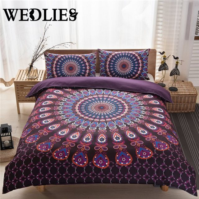 Indian Bedding Cover Boho Style Duvet 200x230cm And Two Pillowcases 48x74cm Purple