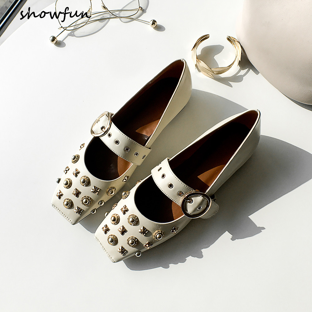 Women's genuine leather metal buckle mary janes flats brand designer rivet square toe slip-on comfortable shoes for women sale new hot sale women shoes breathable buckle slip on for women comfortable dress shoes genuine leather white colour free shipping