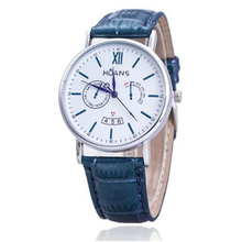 HUANS Males Rome digital Article Leather-based Band Quartz Wrist Watches Blue Band+Silver Dial