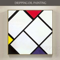 Simple Design Artist Hand Painted High Quality Modern Abstract Geometry Oil Painting On Canvas Simple Nordic