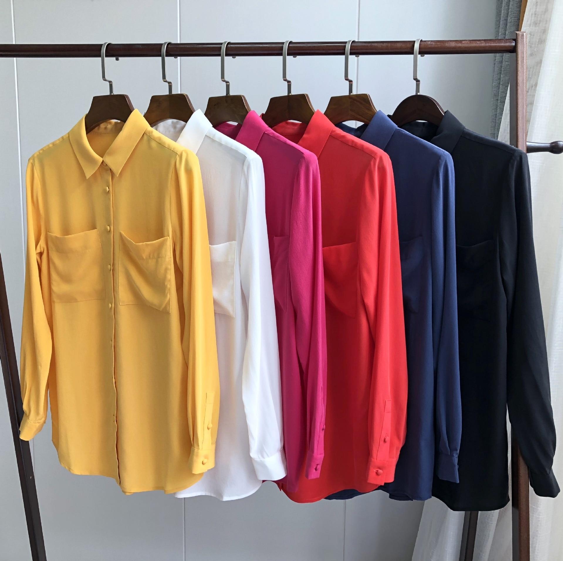 Sand washed silk crepe shirt simple double pocket elegant clasp silk shirt белая рубашка с объемными рукавами и вырезом