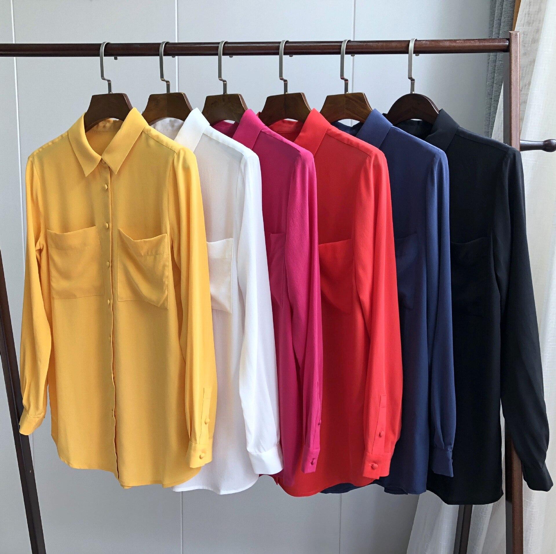 Camisa de crepé de seda lavada con arena simple doble bolsillo elegante cierre camisa de seda