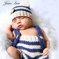Новорожденный Фото Опора Ручной младенца вязания крючком фотография реквизит boy мягкой хлопчатобумажной пряжи синий тан полосатый hat + брюки baby shower подарок