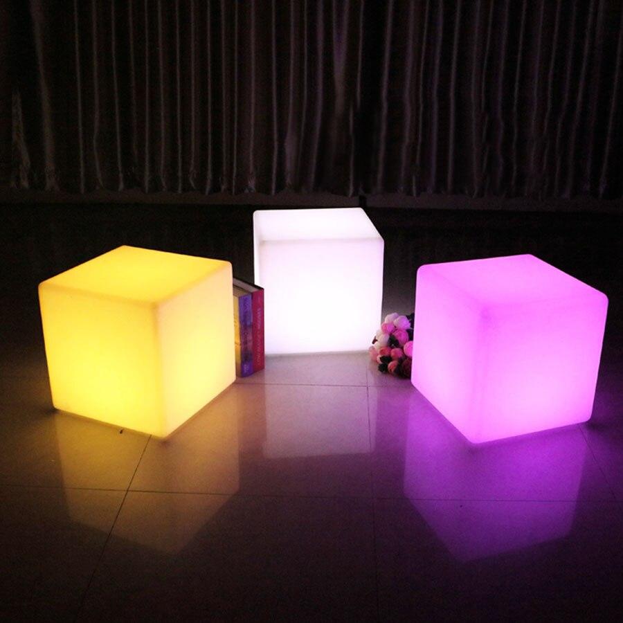 Thrisdar 30 CM 40 CM a mené la barre éclairée de meubles a mené la chaise de siège de Cube lumière de nuit tabourets de Bar extérieurs lampes de Table en plastique - 4