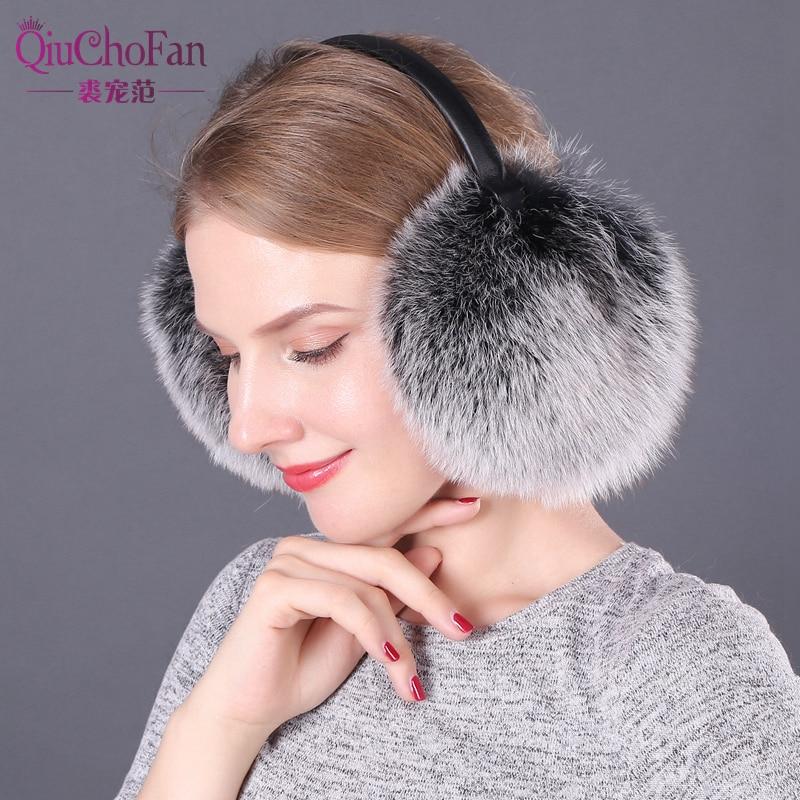 Fox Fur Earmuffs Women New 2017 Warm Natural Fur Pompom Earmuffs Lovely Earlap Genuine Fur Plush Ear Muff For Russian Winter