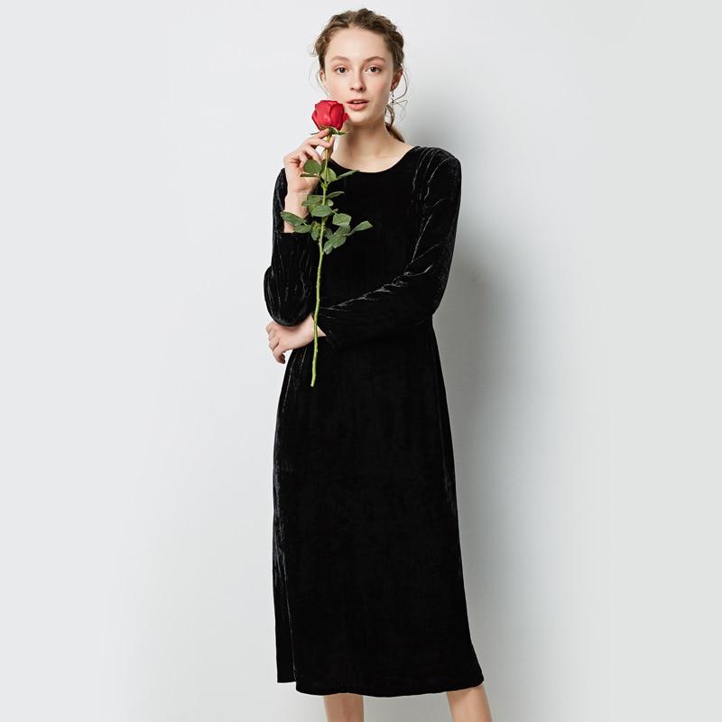 Soie floral grande taille robe d'été femmes s sexy club rétro plage boho robes longues 2019 noir velours col rond à manches longues