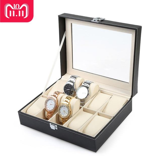 все цены на Professional 10 Grid Watch Box Luxury PU leather Wristwatch Box Display Jewelry Storage Organizer Watch Case Caixa Para Relogio