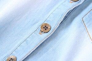 Image 4 - מזדמן תינוק בנות ינס חולצות ארוך שרוול רך ילדי ג ינס חולצה כותנה ילדים של ג ינס צמרות תלבושות 2 8 שנים