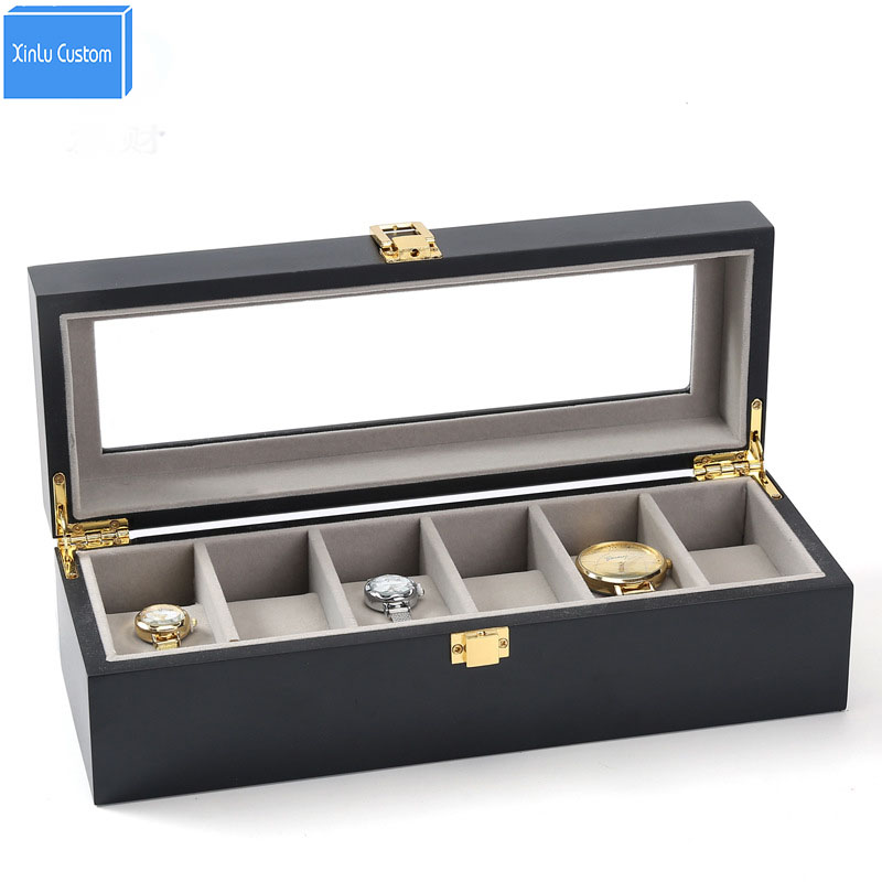 Claasic Black Wood Paint Storage&Display Brands Watch Cases Boxes Jewelry/Watch 6 Grids Velvet Window Cases Gift Package Box New | Watch Boxes