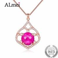 Almei Red Corundum Crystal Hollow Leaf Pendant & Necklace Genuine 925 Sterling Silver Women Fine Wedding Jewelry with Box CN059
