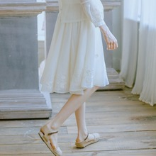 LYNETTE'S CHINOISERIE Summer Original Design Women Fairy Embroidery All-match A-line Skirt