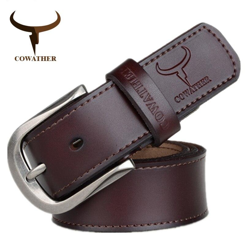 COWATHER 2018 mode boucle ardillon vache véritable ceinture en cuir pour homme pour hommes trois couleurs mâle vintage jeans ceintures en peau de vache bonne route