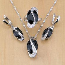 Moda negro cúbico zirconia blanco birthstones 925 joyería de plata esterlina set para las Mujeres Partido Pendientes/colgante/Collar/ anillo