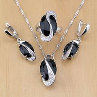 Trendy Black Created Sapphire White Topaz 925 Sterling Silver Jewelry Set For Women Party Earrings Pendant