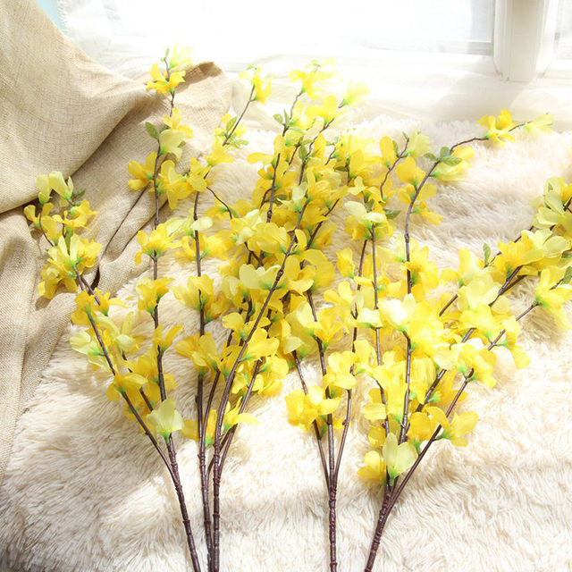Online shop 2018 fashion yellow artificial winter jasmine leaves image mightylinksfo