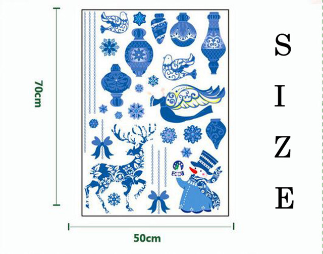 New blue Christmas decorations window stickers DIY Wall Decal Xmas New Year Decoration for home hotel market wall sticker P30