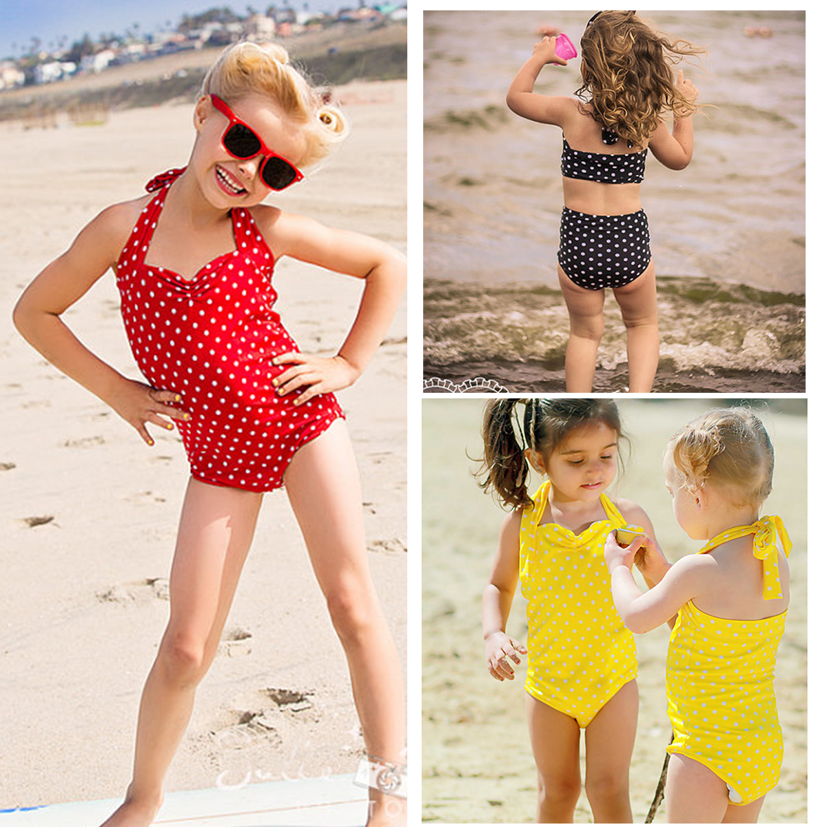 2-12 Years Children Girls Swimsuit Two Pieces Bikini Set Polka-dot Swimwear Bathing Suits 2019 New Summer Bathing Suit