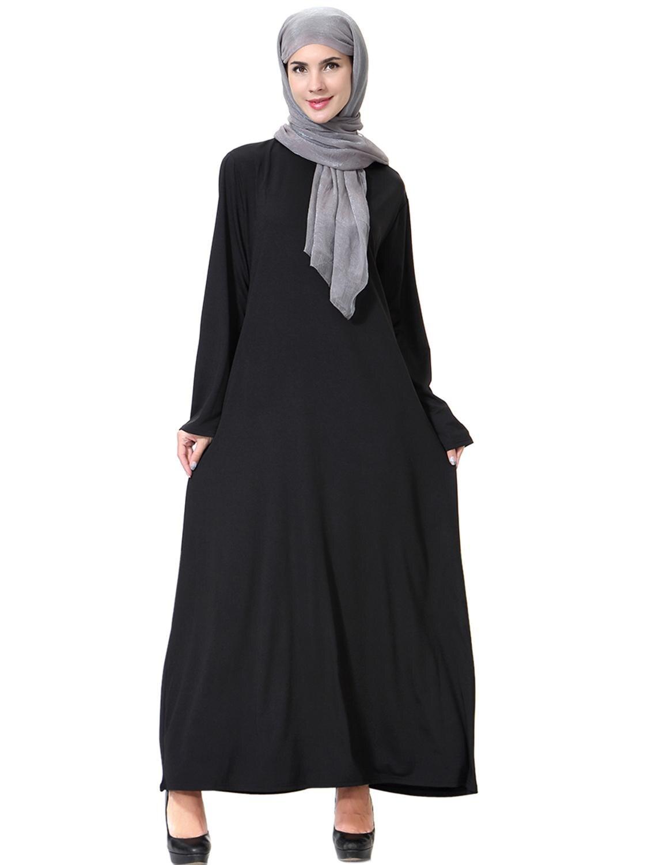 Arabic Dresses Muslim Abaya Women Solid loose Kaftan Islamic Women Black Caftan Dresses in Islamic Clothing from Novelty Special Use