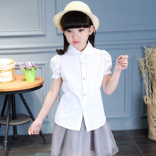 White Blouses For Girls Christmas Costumes Short Sleeve Kids Girl Shirts 2017 Teenage Girls School Uniforms  6 8 10 12 14 Years