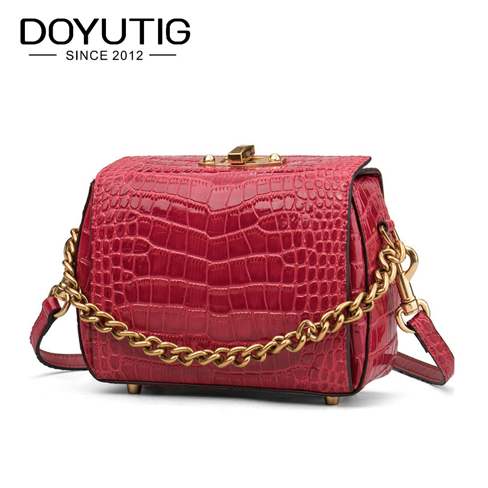 DOYUTIG Women's Lovely Alligator Genuine Leather Crossbody Body Bags Littler Size Lady Cute Pink Real Leather Shoulder Bags F591 acrylic pink lollipop lovely