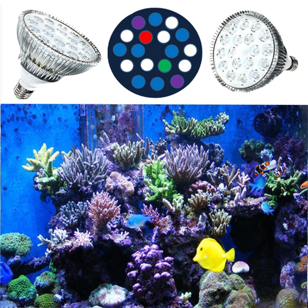 54W LED Aquarium Light Full Spectrum Blue White Green Red UV PAR38 E27 LED Plant Grow Light for Reef Corals Refugium