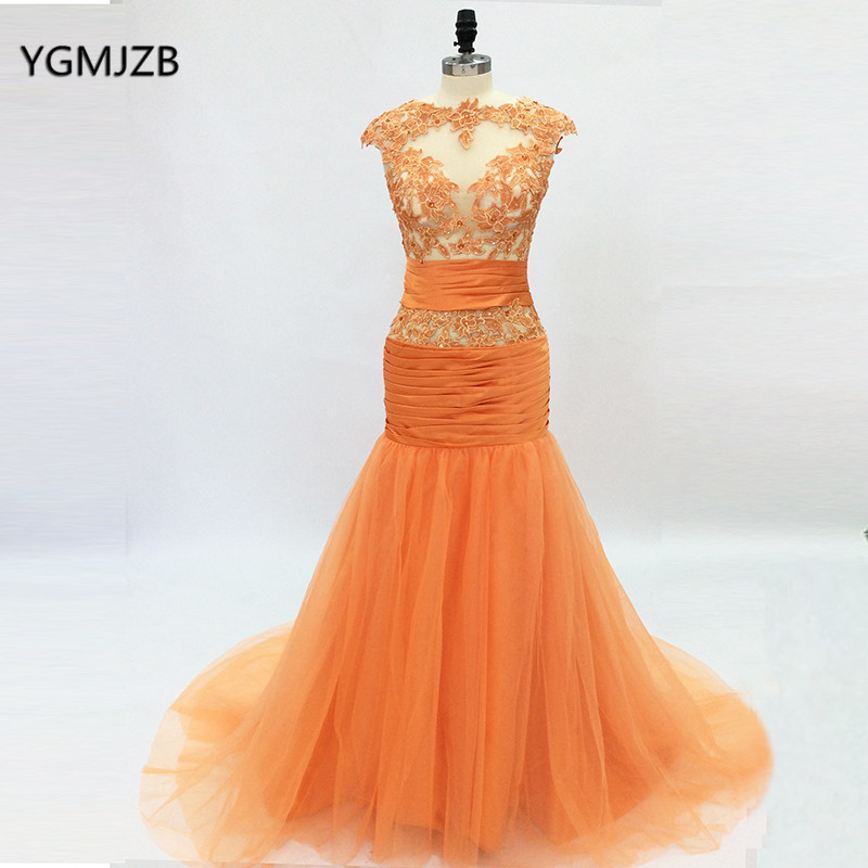 Us 10773 43 Offelegant Long Orange Evening Dresses 2018 Mermaid Lace Embroidery Crystal Tulle Arabic Women Formal Prom Gown Robe De Soiree In
