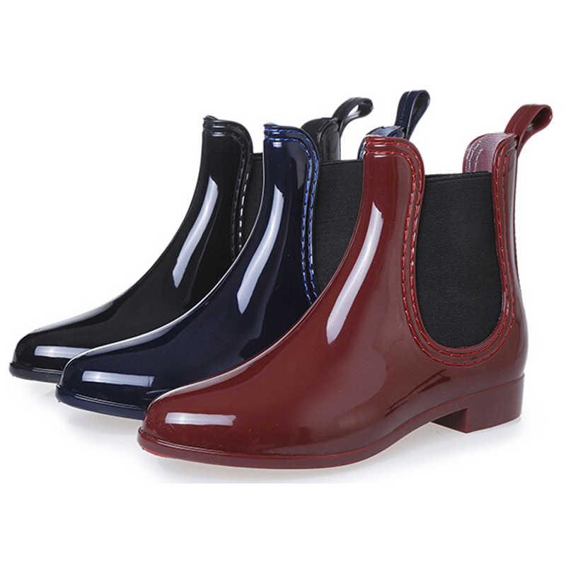 Saguaro 2019 Baru Sepatu Karet untuk Wanita PVC Pergelangan Kaki Sepatu Bot Hujan Tahan Air Trendi Jelly Wanita Boot Karet Hujan Sepatu wanita