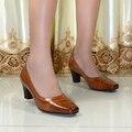 Zapatos de las mujeres, cuero genuino del dedo del pie cuadrado zapatos de tacón alto bombas de las mujeres, zapatos de vestido para las mujeres zapatos de la oficina, zapatos grandes del tamaño 9103-5