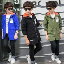 Children's Clothing Print Boy Jacket Children's Windproof Kids Outerwear Autnmn Coats For Boys Hooded Jacket Long Boy Jackets недорого